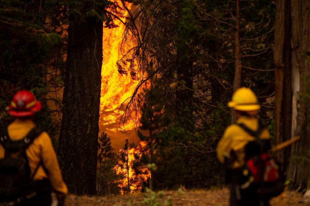 A Storey County Fire District crew battles the Caldor Fire.