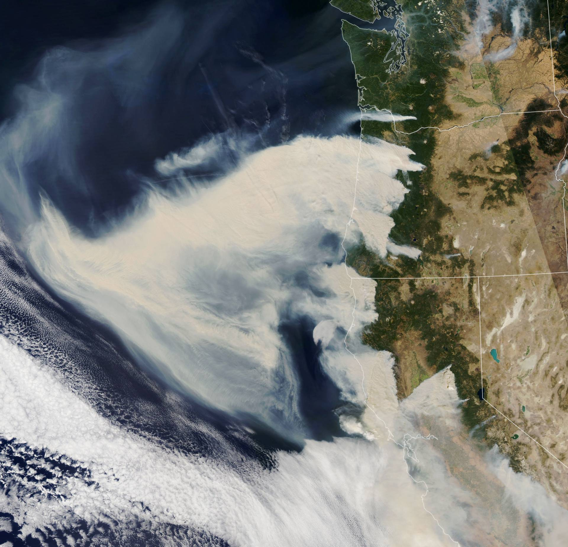 As intense fires raged up and down the Pacific coast, NASA's Aqua satellite captured this natural color image of thick smoke plumes streaming west on Sept. 8, 2020. NASA Earth Observatory image by Lauren Dauphin, using MODIS data from NASA EOSDIS/LANCE and GIBS/Worldview.