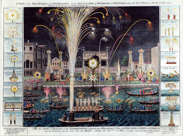 A view of the Fire-workes and Illuminations at his Grace the Duke of Richmond's at White-hall and on the River Thames, on Monday 15 May, 1749 (hand-coloured engraving)
