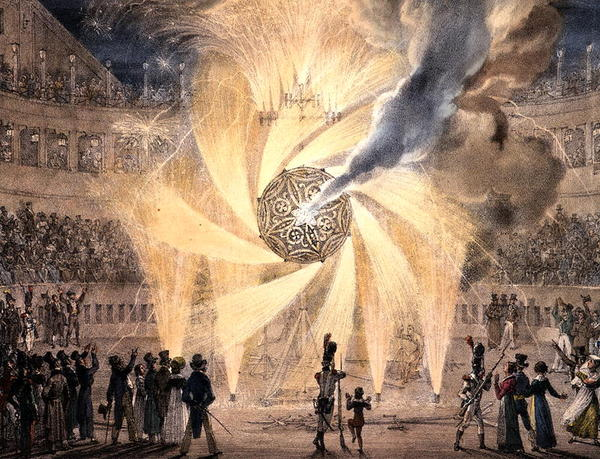 Fireworks (colour engraving)