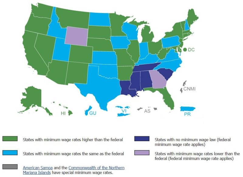 Minimum wage laws in the states as of January 1, 2016