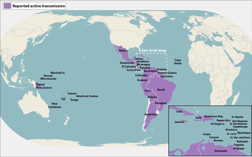 Map of Zika virus
