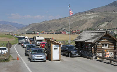 Vehicles lined up at North Entrance