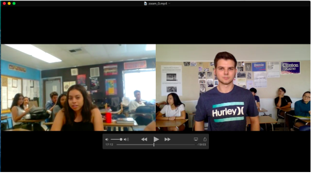 My US Government seniors video conferencing with John F. Kennedy High School US History juniors