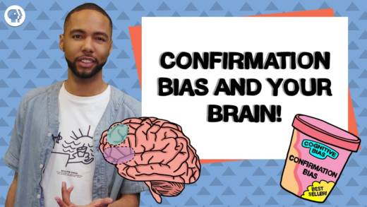 host Myles Bess with image of a brain and a tub of bias ice cream