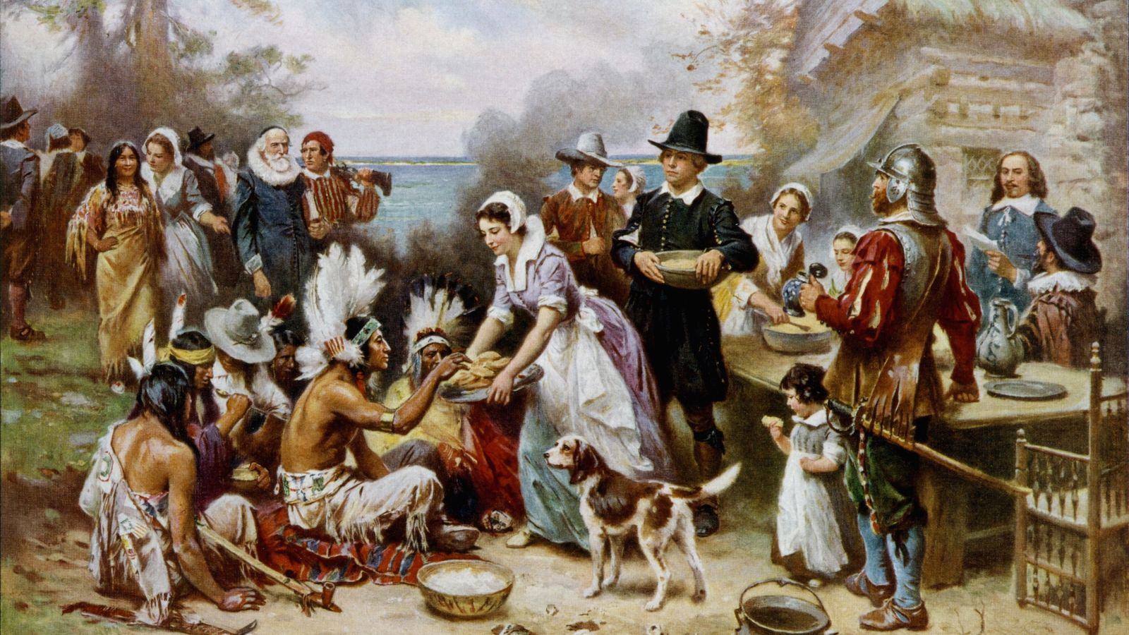 The First Thanksgiving 1621, oil on canvas by Jean Leon Gerome Ferris (1899).