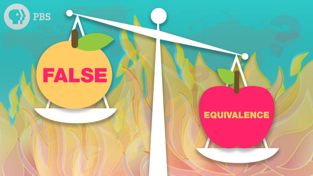A balance holds an apple labeled False and an apple labeled Equivalence