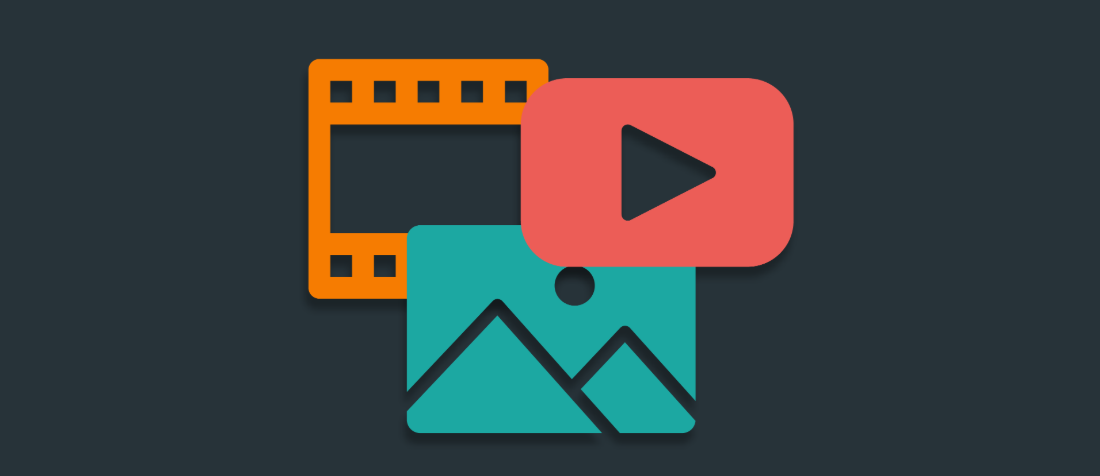 Icons for video, audio, and photos