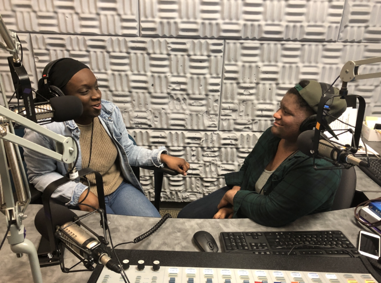 Sam Mann (right) and Ragan Foster in the studio of keCg, El Cerrito High School's radio station for Youth Takeover 2019.