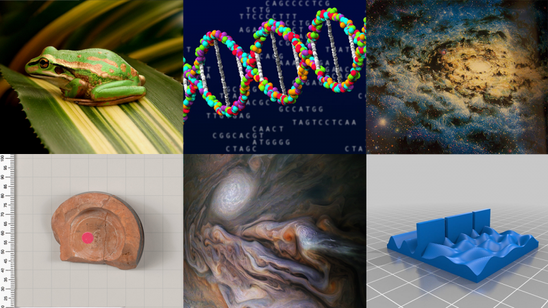 Various science images in a 6-image grid.