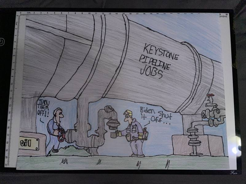 Cartoon showing Biden turning off an oil pipe and a worker who has lost their job