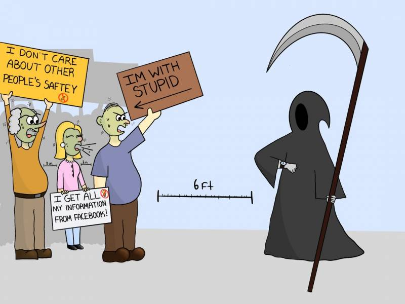 Cartoon of a patient Grim Reaper waiting for anti-vaxxers