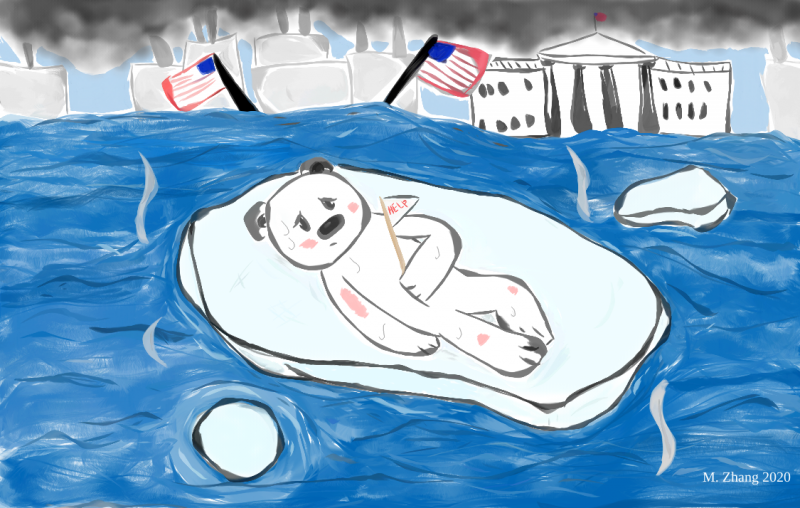 Cartoon showing a polar bear getting sun burned on a shrinking block of ice while fossil fuels burn in the background