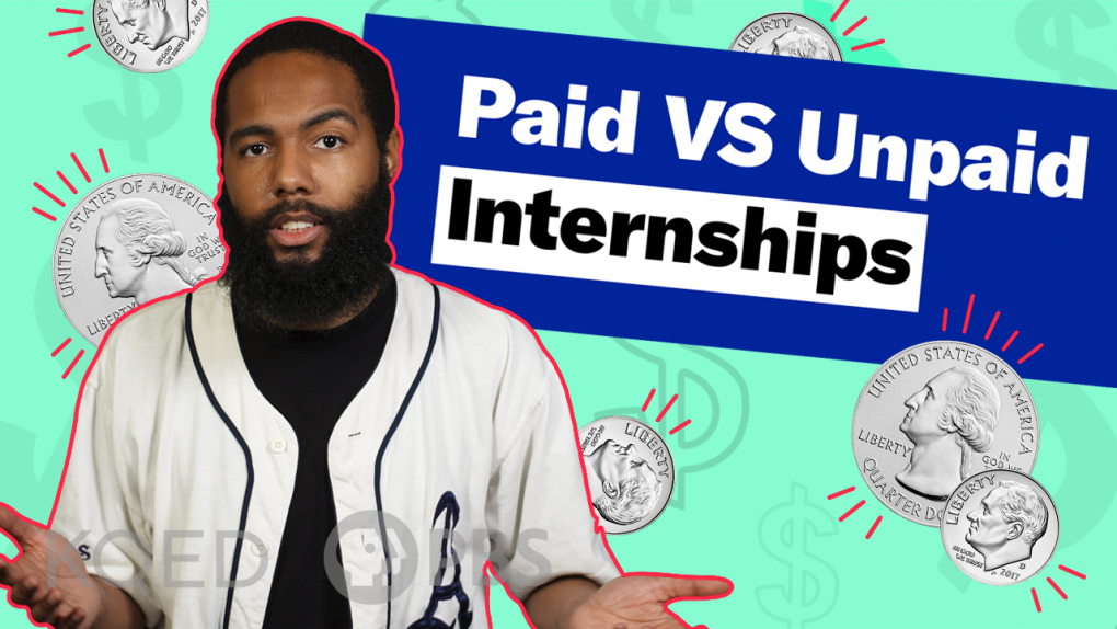 A YouTube thumbnail image to explain this video is about the pros and cons of unpaid internships