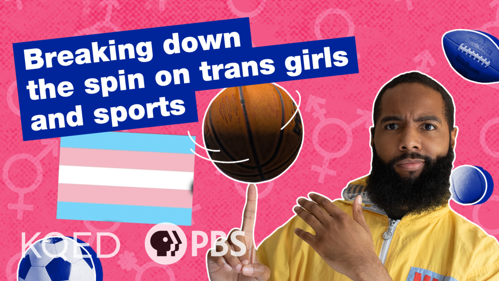 """Above the Noise host Myles Bess wears a yellow jacket and spins a basketball on his finger, against a pink colored background that has gender inclusive symbols, as well as a transgender flag and a soccer ball and football. Text in a blue box says, """"Breaking down the spin on trans' girls and sports."""""""