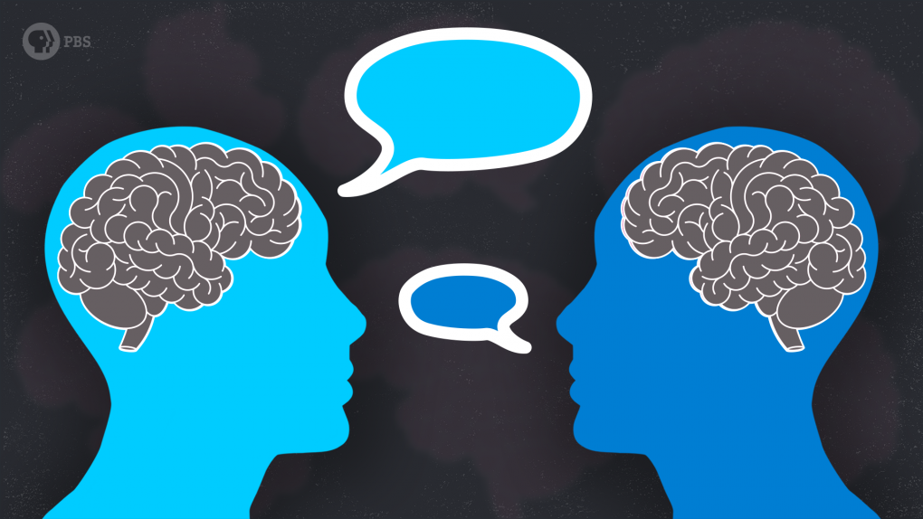 Graphic of two heads with speech bubbles