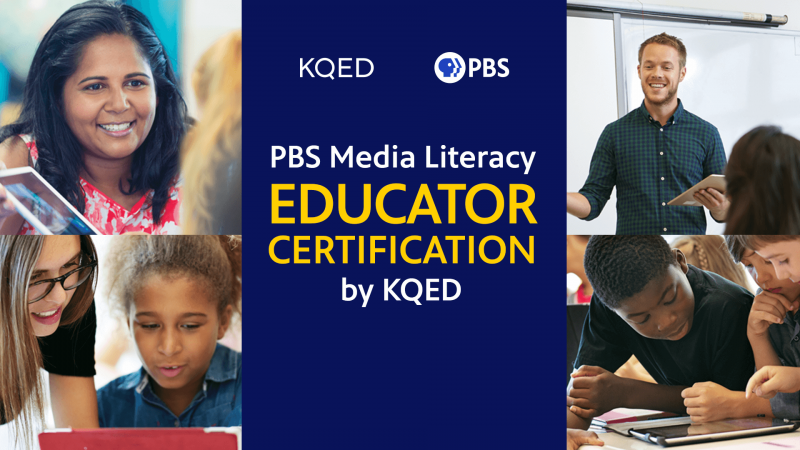 PBS Media Literacy Educator Certification logo with photos of educators in the background