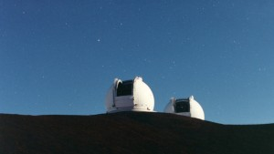 With their 33 ft. mirrors, the two Keck telescopes, in Hawaii, have enabled scientists to discover new exoplanets.   Courtesy of W. M. Keck Observatory.