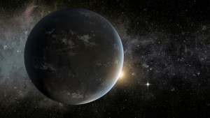This artist's concept imagines an exoplanet named Kepler-62f, and in the distance, another planet called Kepler-62e. Scientists have found that these two planets orbit their star at a distance that would make it possible for them to have liquid water.  Credit: Courtesy of NASA Ames/JPL-Caltech/Tim Pyle.