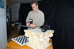 Kevin Cain, Digital Capture Supervisor for Maya Skies, demonstrates his innovative image-capture process that replaces expensive custom hardware with affordable consumer equipment.