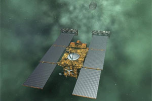 Artist Concept of Stardust-NExT Approaching Comet Tempel 1