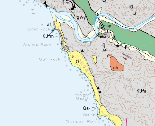 shell beach geologic map