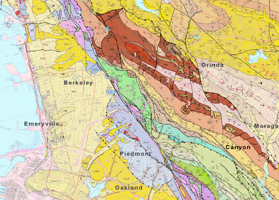 """The Moraga Formation is brown on this geologic map, derived from {link url=""""http://pubs.usgs.gov/mf/2000/2342/""""}USGS Misc. Field Studies Map 2342{/link}. Localities 1 through 5 are shown in this article."""