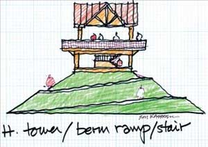 sketch elevation of tower / berm