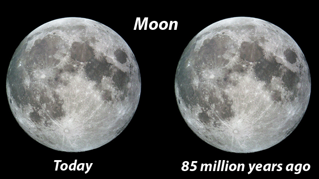 Moon today and during the Cretaceous