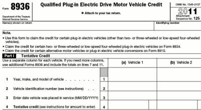 2011 EV tax credit