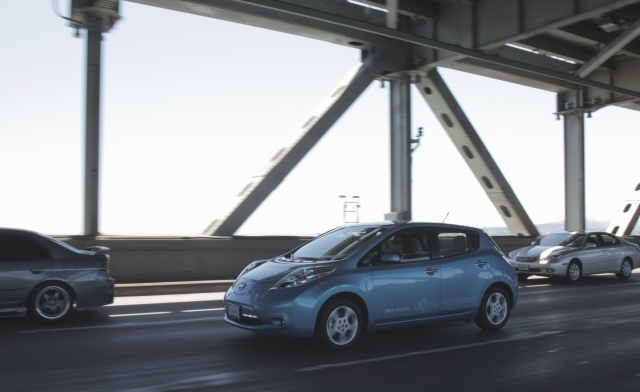 Nissan Leaf on Bay Bridge