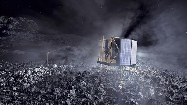 Rosetta-Philae lander on Comet 67P/Churyumov-Gerasimenko - artist concept