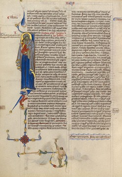 Initial I, Italian, 1250-1262, on view at the Getty