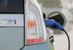 2012 Toyota Prius Plug-in Hybrid plugged in