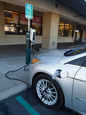 Charging the Ford Focus Electric in Pleasanton, Calif.