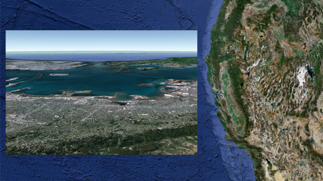 San Francisco Bay perspective. Created with Google Earth.
