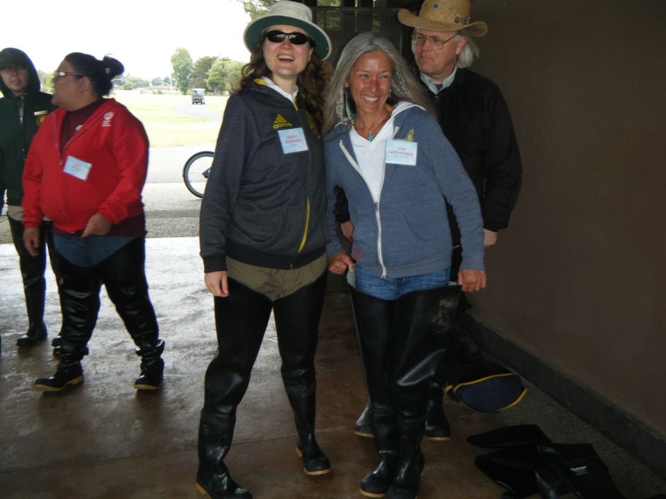Teachers gear up in hip waders to explore the Bay