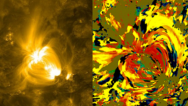 Image of the sun and visualization of temperature changes in the same area
