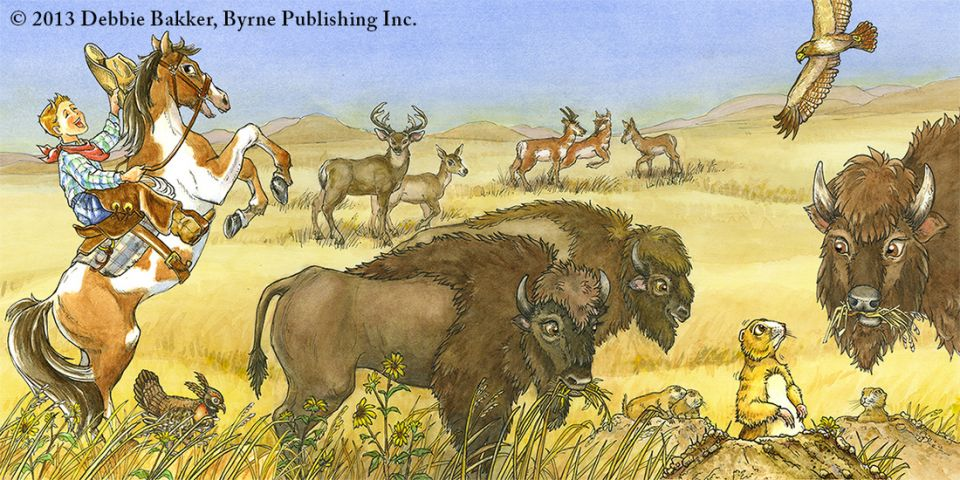 Illustration from a children's book app about animals and their habitats - Debbie Bakker