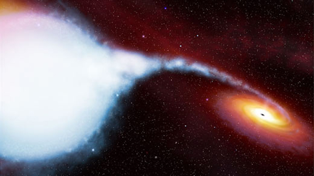 Artist concept of a black hole and companion star. Credit ESA/Hubble European Space Agency Information Centre (M. Kornmesser, L. L. Christensen)