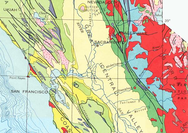 Sierra granite is colored dark red in this old state geologic map.