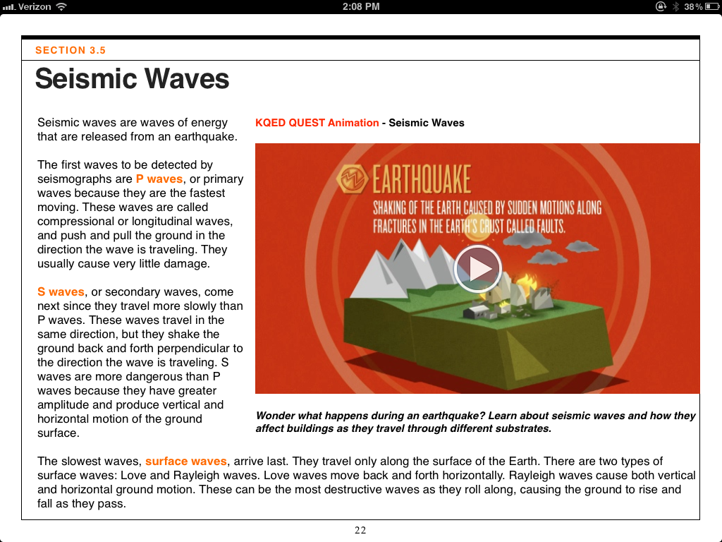 A page from the Earthquake iBook, developed by KQED and the California Academy of Sciences.