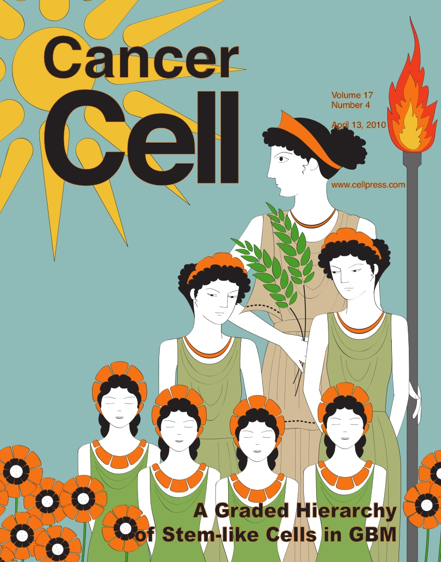 "Cover illustration by Allison Bruce. ""Much like Persephone, Greek goddess of spring growth and queen of the underworld, some glioblastoma cells possess the capability for self-renewal."""