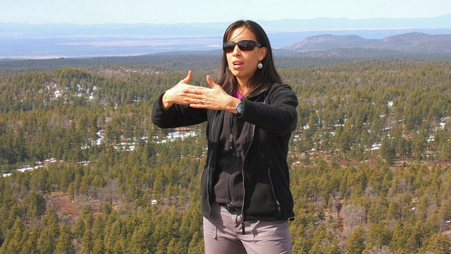 Forest Service geologist Jessica Lopez Pearce leads a tour at Summit Mountain in Kaibab National Forest. Geologists are key in turning on students to the coolness that is geoscience. Photo courtesy U.S. Forest Service, Southwestern Region, Kaibab National Forest under Creative Commons license