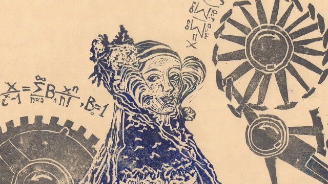 Linocut of the Enchantress of Numbers, Ada Lovelace - by Ele Willoughby