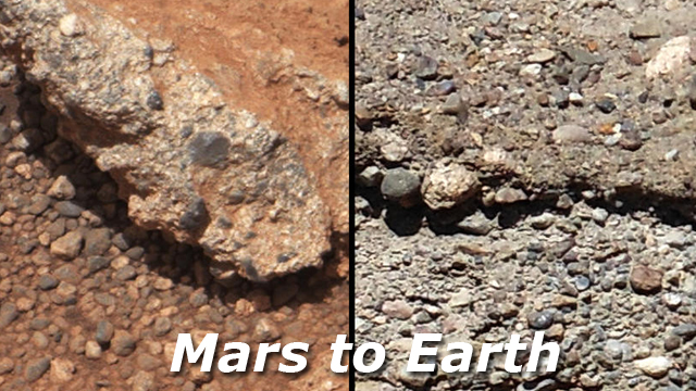 Mars streambed conglomerate compared to example on Earth. Credit: NASA/Mars Science Laboratory