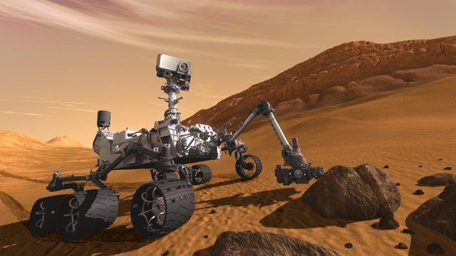 Artist illustration of NASA's Mars Science Laboratory rover, Curiosity.