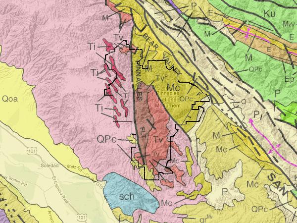 Rocks in the park: pink, Mesozoic granite; Ti/Tv/Tvp, Pinnacles volcanics; Mc, Miocene conglomerate.