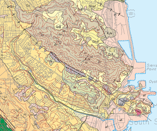 Relevant map units: KJs, San Bruno Mountain sandstone; fs, fsr, Franciscan sandstone and sheared rock (melange); Qc, Colma Formation; Qcl, colluvium (debris); Qhaf, alluvial (stream) sediment; af, artificial fill. San Andreas fault at lower left corner.