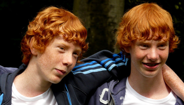 """Identical twins like these can finally be told apart at the genetic level for only a few thousand dollars.  Image courtesy of Wikimedia Commons: http://commons.wikimedia.org/wiki/File:Redhead_twins.jpg"